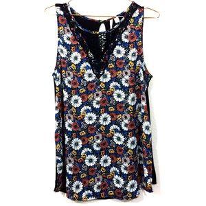 Lauren Conrad Floral Crochet Tank Top Medium
